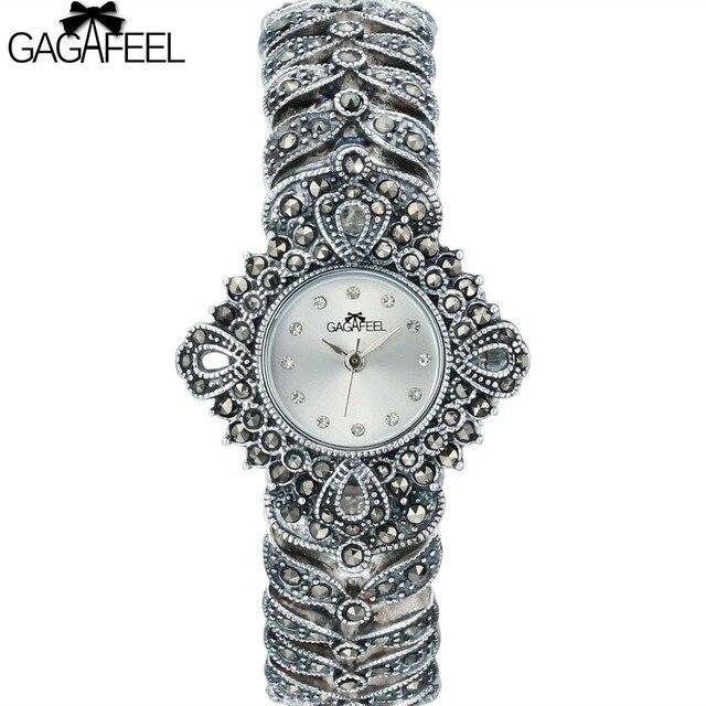 34af5909 925 пробы 100% серебряные часы леди для женщин Thail серебряные наручные  кварцевые часы браслет серебряные
