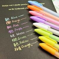M & g حقيقية بطاقة الباستيل لون القلم الغواش ديي ألبوم الصور اللون هلام الدقيق القلم بطاقة سوداء القلم 0.8 ملليمتر 8 ألوان paperlaria اجتماعيون