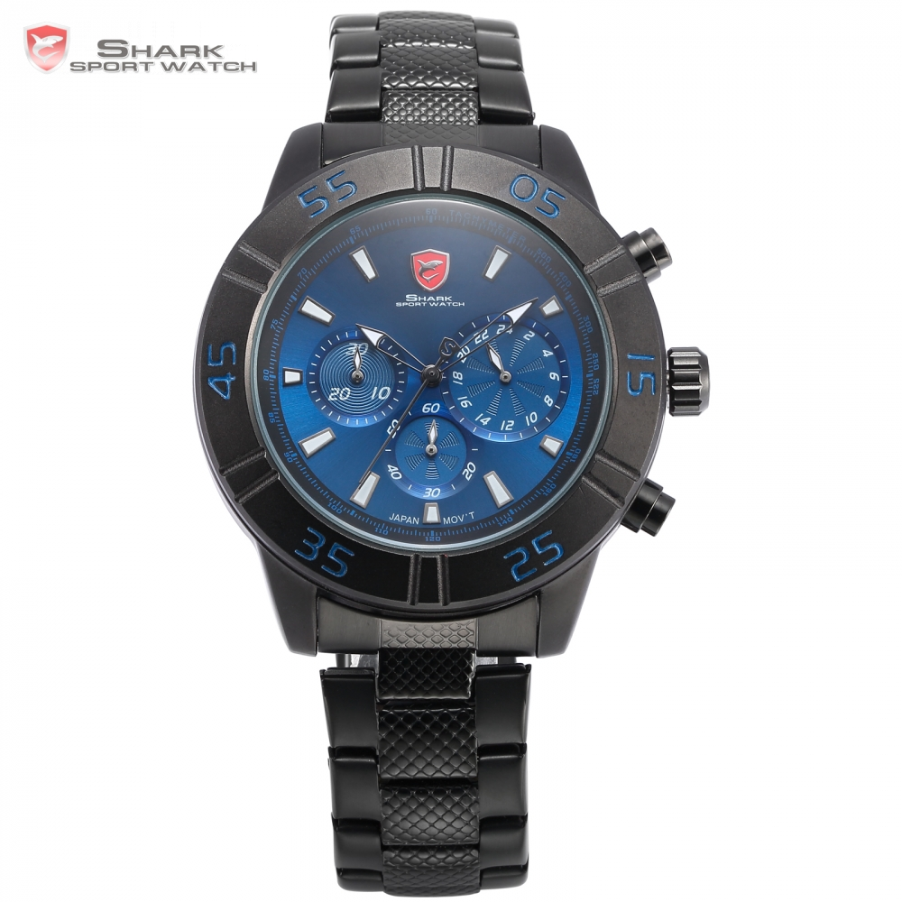 Sandbar Shark Sport Watch Chronograph Stopwatch Blue Black Stainless Steel Band Six Hands Quartz Men Wristwatch Timepiece /SH301 speatak sp9041g fashionable men s quartz watch w six stitch stopwatch black golden 1x lr626