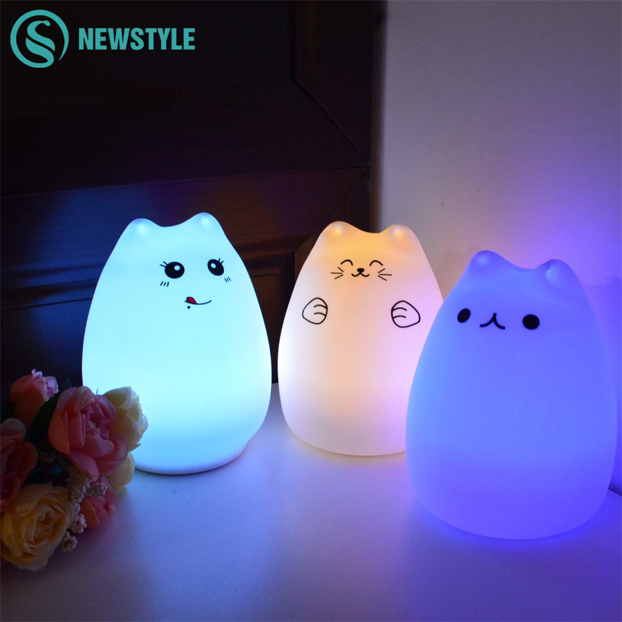 Silicona Touch sensor LED noche luz para niños bebé niños 7 colores 2 modos gato LED USB Led noche lámpara