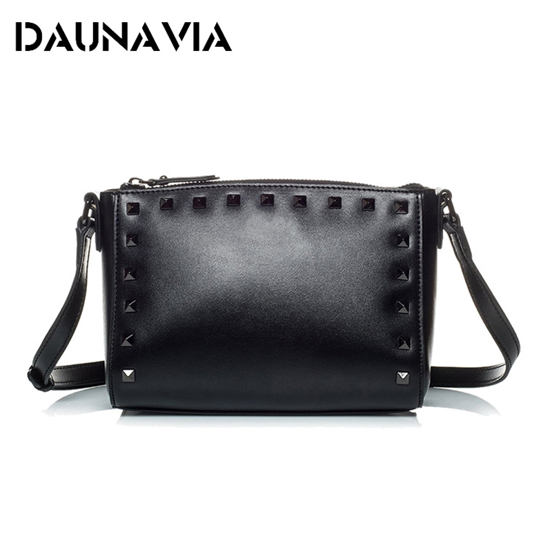 Genuine Leather Women Messenger Bags Rivet Small Flap Shoulder Bag Crossbody Bags Designer Brand Ladies Female Clutch Hand Bags women genuine leather character embossed day clutches wristlet long wallets chains hand bag female shoulder clutch crossbody bag
