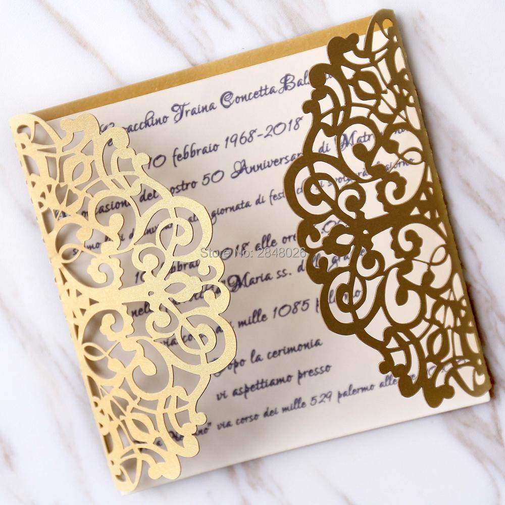 Us 8 69 13 Off Personalized Initials 50pcs Gold Gatefold Wedding Invitation Laser Cut Custom Invitations Greeting Card In Cards