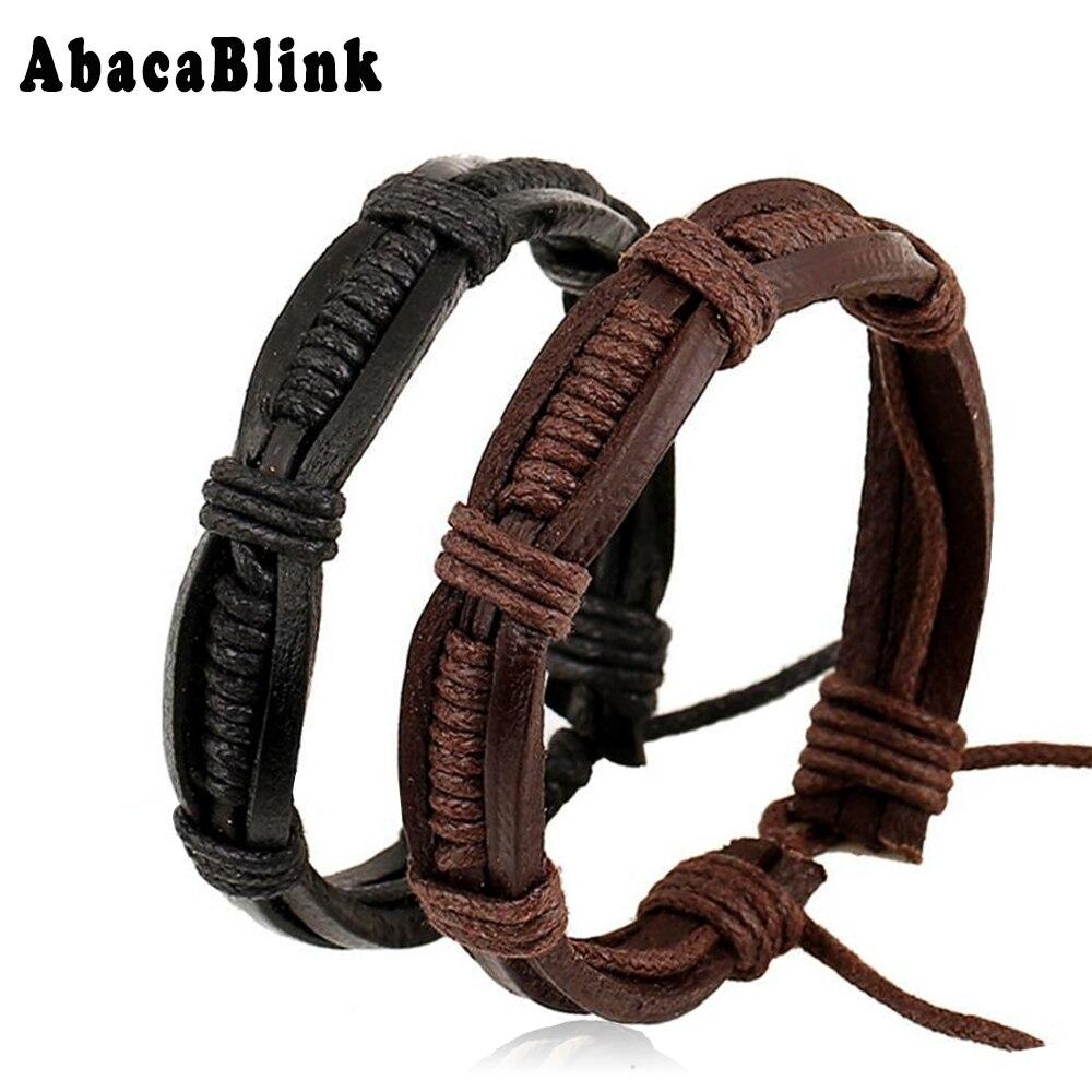 Surfer Unisex Jewelry Multilayer Punk Leather Bracelets For Male Hand Woven Hip Hop Braslet Mens Bracelet Adjustable 2PCS/ LOT