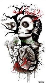 Étanche Autocollant de Tatouage Temporaire grande taille Gothique crâne  tatto autocollants flash tatoo faux tatouages pour