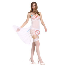 Babydolls Mulheres Sexy Lace See-Through Sexy Lingerie Meninas Sem Encosto Colete Nightskirts + G-String Camisola Erótica Ligas branco