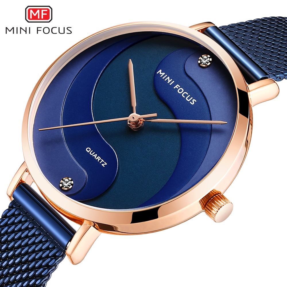 MINIFOCUS Watch Women Fashion Dress Quartz Watch Luxury Brand Ladies Full Steel Mesh Strap Waterproof Watches Female Reloj Mujer
