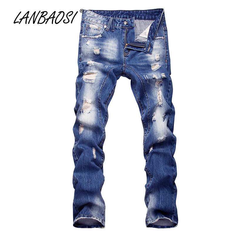 LANBAOSI JEANS Men's Ripped Jeans Casual Boy's Blue Denim Pants Fashion Cotton Pockets Hole Torn Straight Cowboy Trousers denim overalls male suspenders front pockets men s ripped jeans casual hole blue bib jeans boyfriend jeans jumpsuit or04