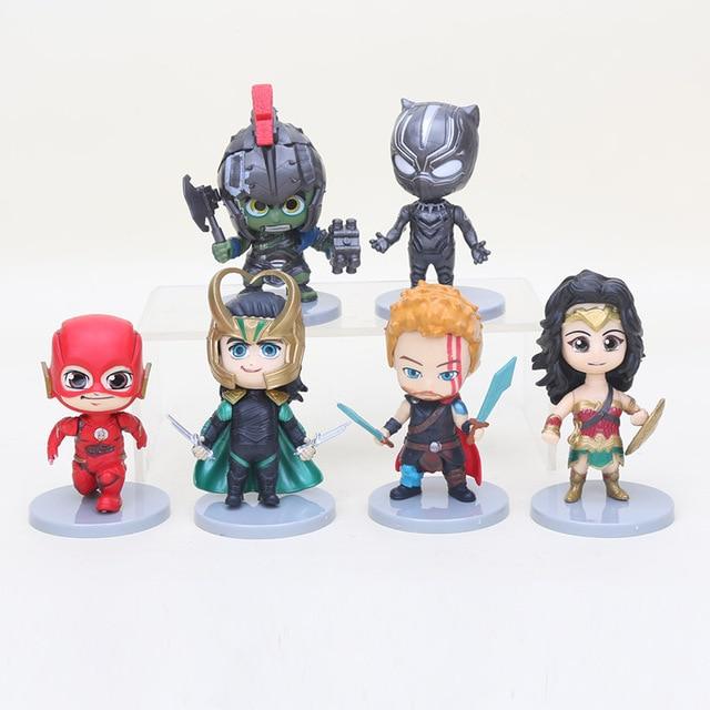 6 pçs/lote 10 cm Q The Avengers hulk Thor loki Super-heróis mulher maravilha the flash pantera negra Figura de Ação DO PVC modelo de Brinquedo