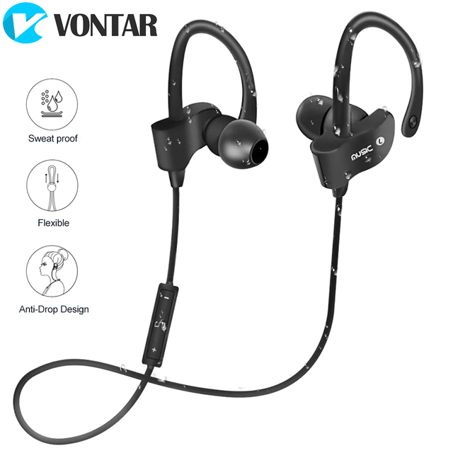 VONTAR Wireless Sports Earphones with Mic IPX4 Sweat proof Heavy BassStereo Fashion Earbuds for Gym Running drop proof Noise