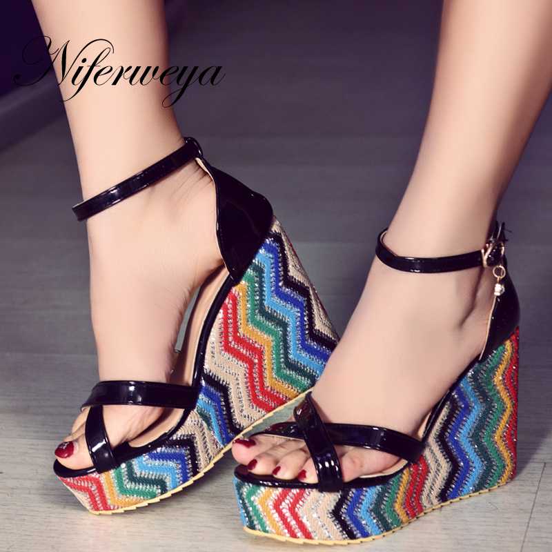 Summer sexy 12 cm Wedges high heel sandals big size 33-45 fashion Ethnic style Peep Toe Buckle Strap women shoes zapatos mujer 2018 summer new arrived strap design wedges women sandals peep toe comfort mid heel sexy lady sandal fashion student casual shoe