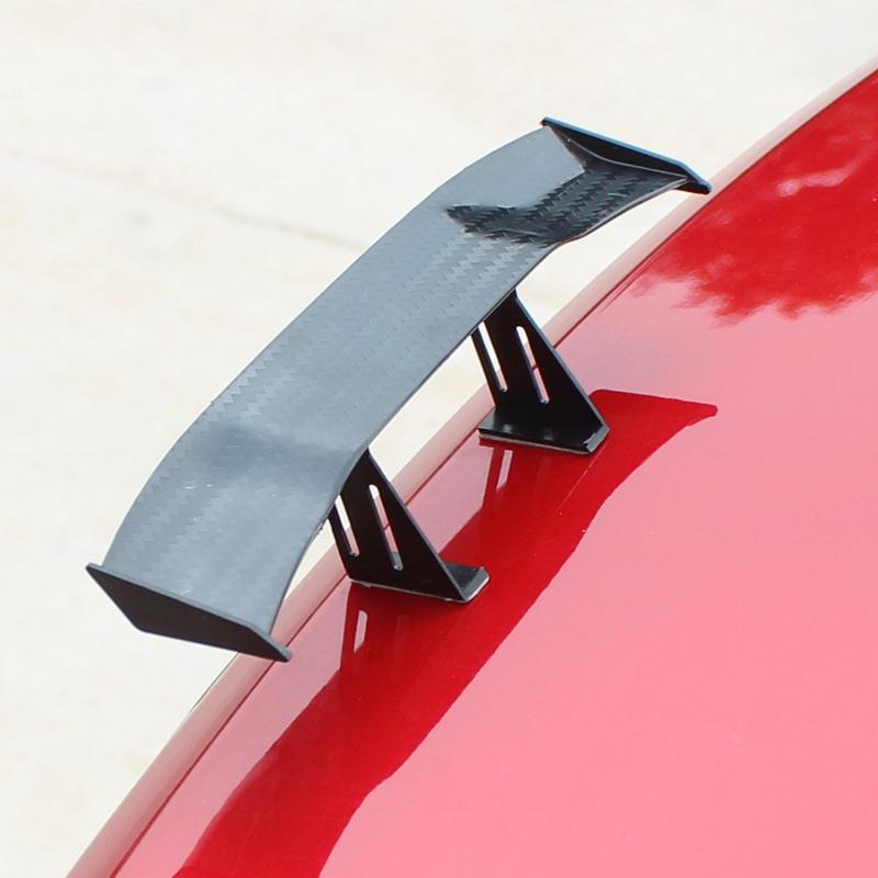 1x 17cm Carbon Fiber Style Twill Tiny Mini Car Rear Wing Spoiler Black Universal