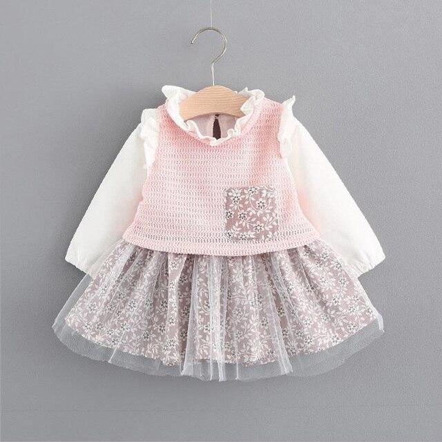 41b721e186 Jesień Maluch Sukienka bawełniana Koszulka dla niemowląt ubranka dla dzieci  dla dziewczyny ubranie księżniczki Bluzki z