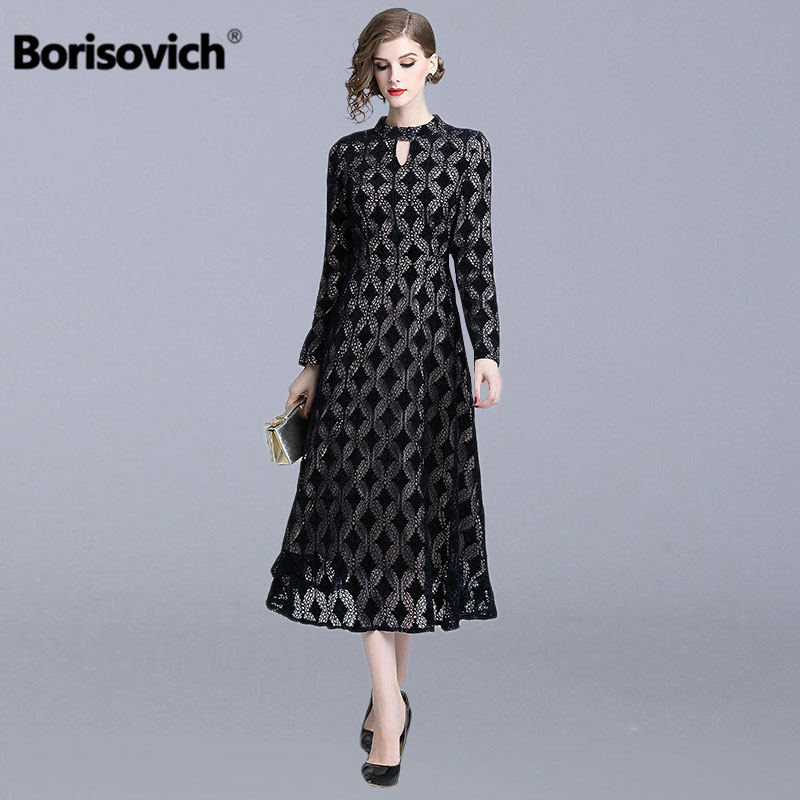 Borisovich England Style Ladies Elegant Party Dress New 2019 Spring Fashion Big Swing A line Women