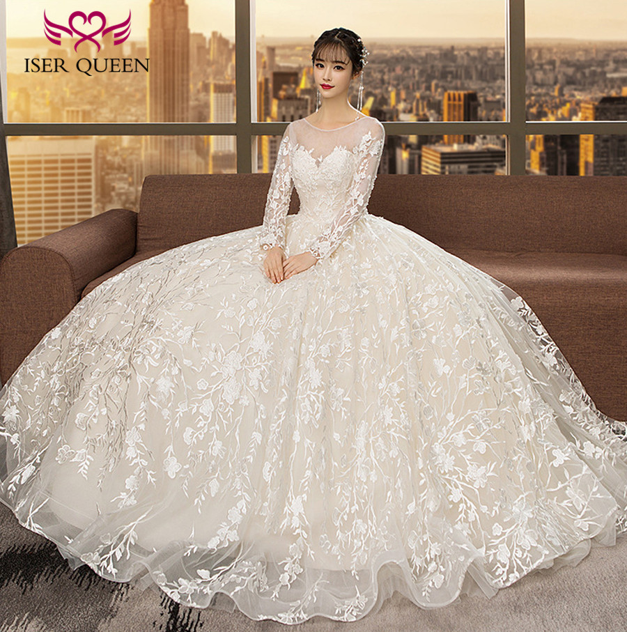 Long Sleeve Sheer Neck New Fashion Embroidery Appliques Arabic Wedding Dresses Ball Gown Plus Size Wedding Dress WX0117