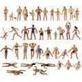 40 шт/партия, разные позы 1:87 плавательный цифры HO Люди плавания пляжная расположение пейзажей миниатюрный P8720