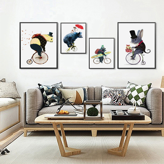 Nordic Cute Cycling Animal Bear Mouse Children Room Canvas Abstract Print Poster Picture Wall Baby Bedroom Home Decor No Framed
