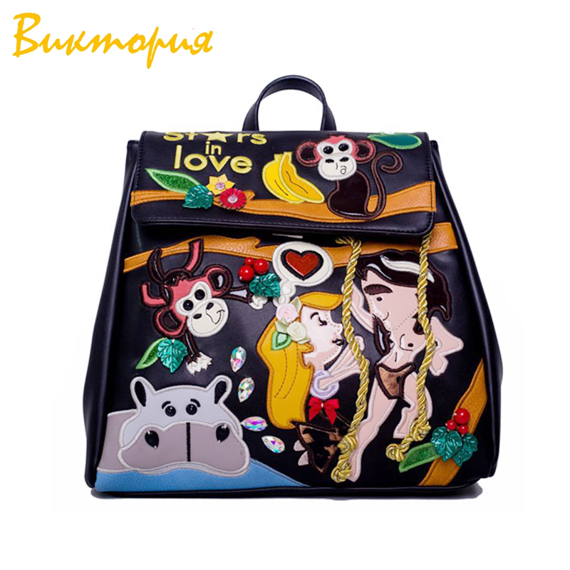 CHARAS BAG brand backpack for women Stylish high quality embroidery student bags Multifunctional shoulder bag