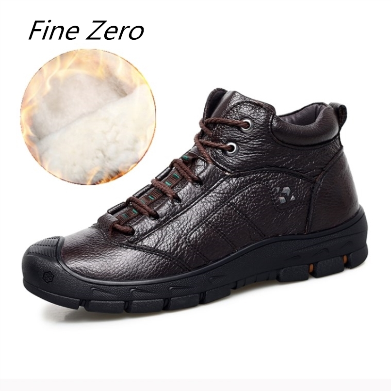 Fine Zero Natural Wool Men Winter Shoes Warmest Genuine Leather Handmade Men Winter Snow Boots Natural Cow Leather Outdoor Boots