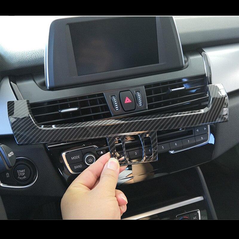ABS Center Console Air Outlet Cover Trim Carbon Fiber Style Navigation Screen Decoration For BMW 2 Series Active Tourer F45