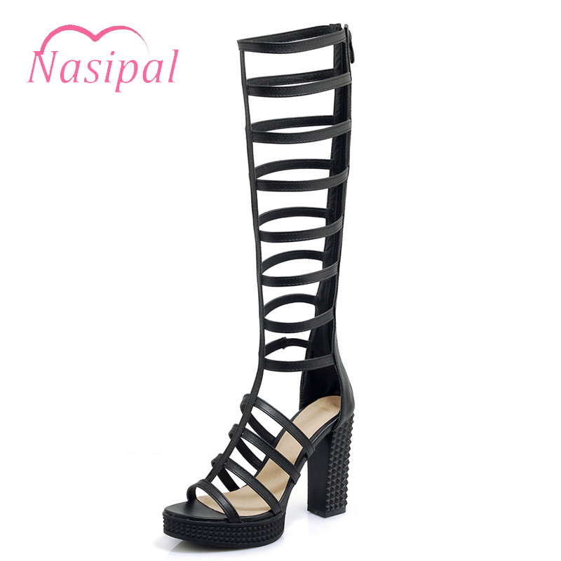 Nasipal Rome Sandals Zipper Women Knee High Boots Sexy Cut Outs High Heels Club Party Shoes Gladiator Sandals Woman White C673 morazora 2018 new high quality cut outs women s summer boots high heels knee high women sandals solid color ladies shoes woman