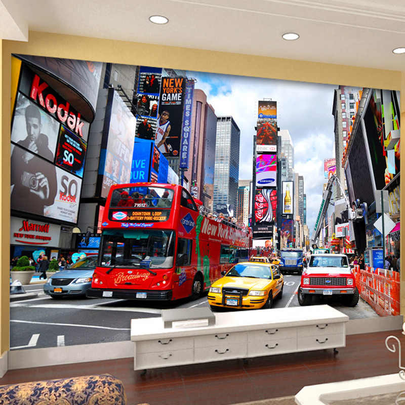 Custom Photo Wallpaper Bus New York Times Large Mural Wallpaper TV Background Wall Paper Office Living Room Bedroom 3D Wallpaper