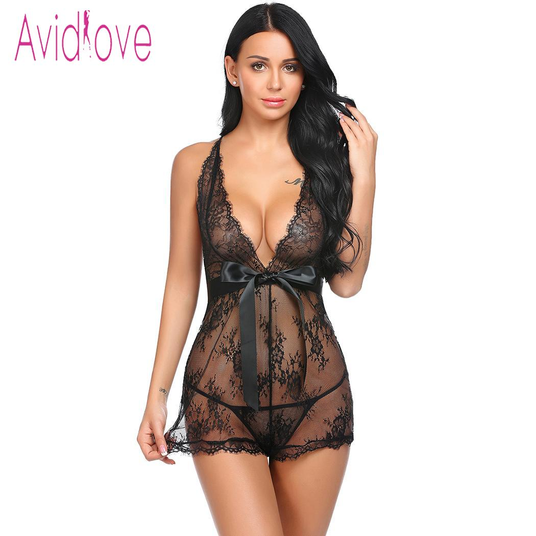 Avidlove Women Babydoll Sexy Lingerie Underwear Pajamas Lace Patchwork Spaghetti Strap Chemise G-string Sexy Costumes
