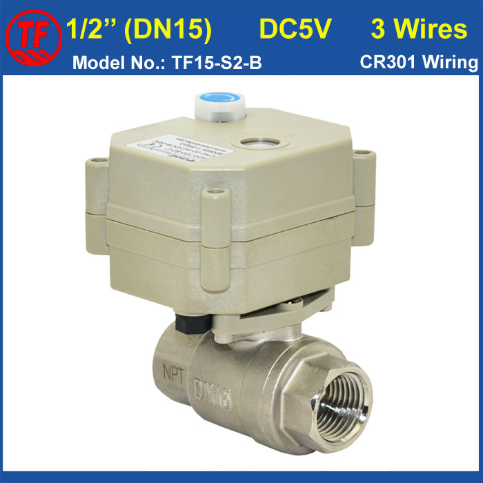 ФОТО TF15-S2-B DC5V 3 Wires Electric Water Valve 2-Way Female BSP/NPT Thread 1/2'' (DN15) SS304 Motorized Valve With Mmanual Override