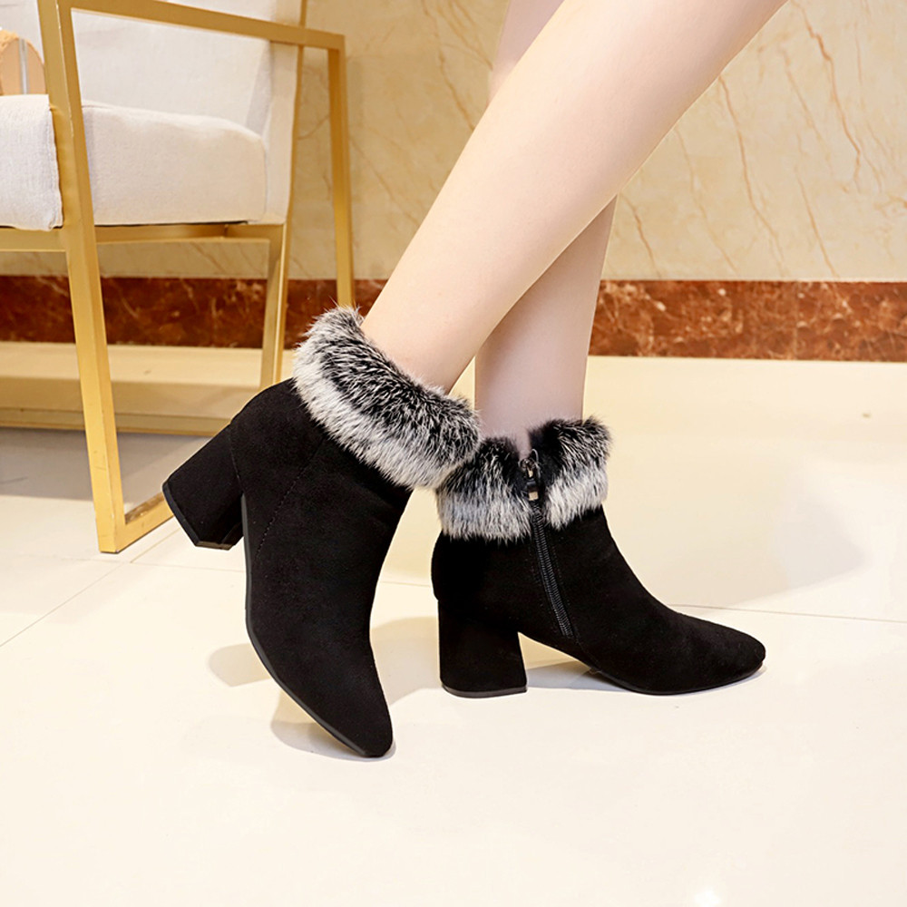 shoes Boots Women Suede Ladies Faux Warm Ankle Slip-On Boots Shoes Middle Heels Martin boots women 2018Nov1 43