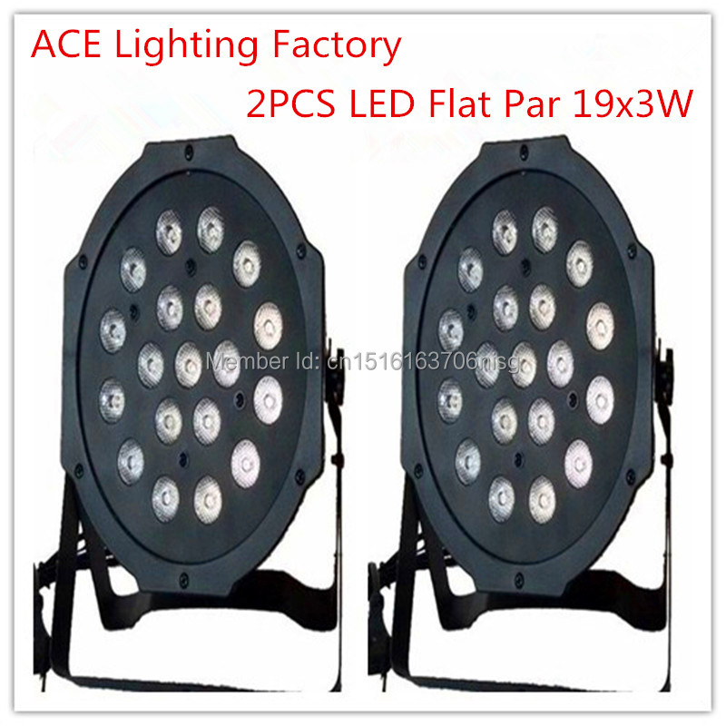 ФОТО 2 pieces Promotional Packaging American DJ Excellent LED Par CAN Light New Flat SlimPar 19x3W RGB DMX Wash 3/7 Channels DJ