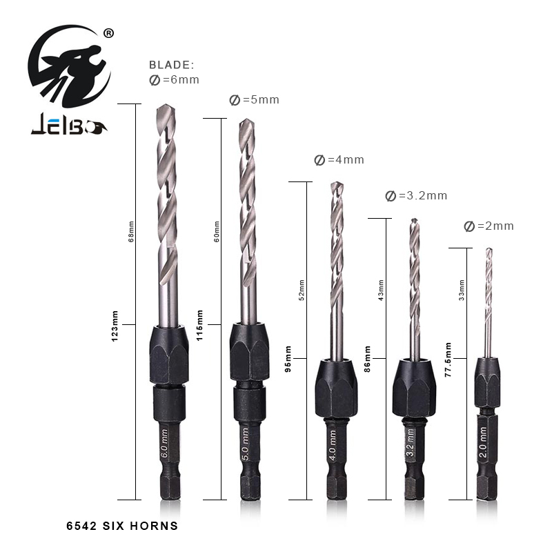 JelBo 5pcs Twist Drill Bit Hex Shank Hexagonal Hole High Speed Steel Twist screw Twist Drill Bits Set For Woodworking Tools twist