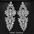 Acessórios Lindo Cubic Zirconia Jóia da Festa de Casamento do vintage Criado Diamante Big Longo Brinco Para As Mulheres De Noiva De Luxo CZ309
