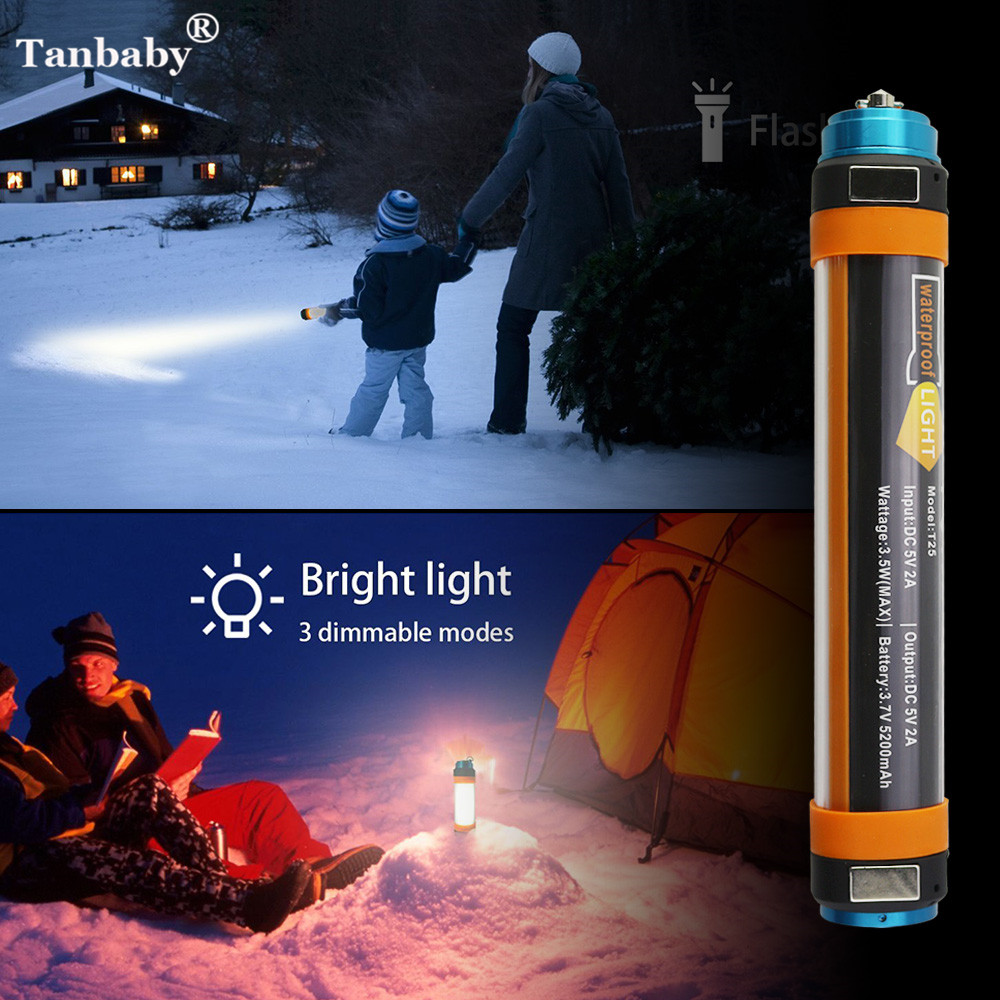Tanbaby USB Rechargeable Camping Lanterns Powerbank Portable Lighting IP68 Waterproof Outdoor Flashlight Emergency Led Light