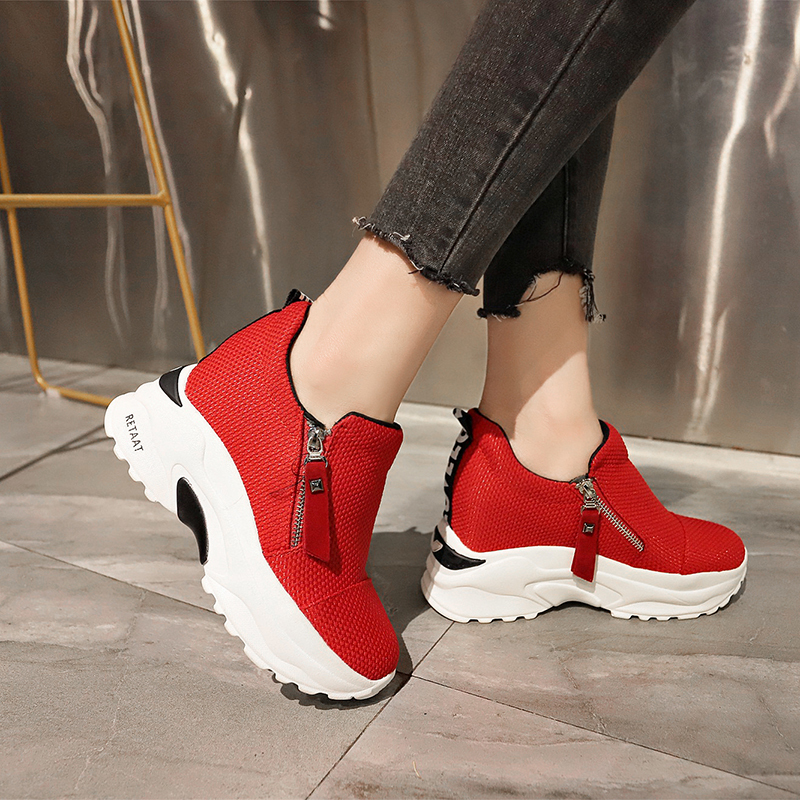 Lucyever 2019 New Spring Ladeis Casual Sneakers Women Height Increasing Vulcanized Shoes Woman Footwear Leisure Ankle Boots 12