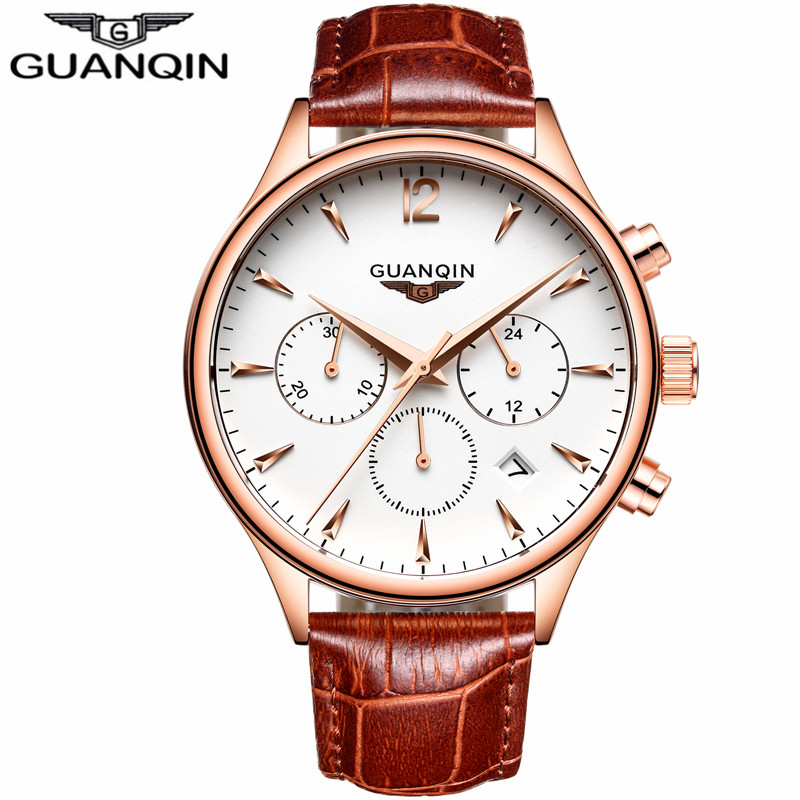 GUANQIN New Luxury Brand Waterproof Quartz Watch Men Military Leather Sports Watches Man 24 Hour Date Clock relogio masculino 2018 new fashion casual naviforce brand waterproof quartz watch men military leather sports watches man clock relogio masculino