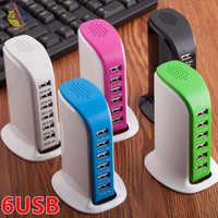 Universale Multi 6 Porta HUB USB Charger Ricarica Rapida Veloce di Ricarica della Stazione Del Bacino Multipla Travel Adattatore Presa A Muro US EU UK Spina