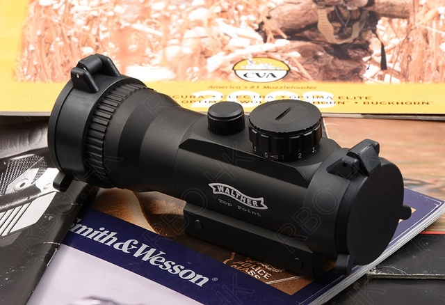 Walther 2x42 red dot sight scope for 20mm picatinny rail mount Front and rear scope protective cover M3235
