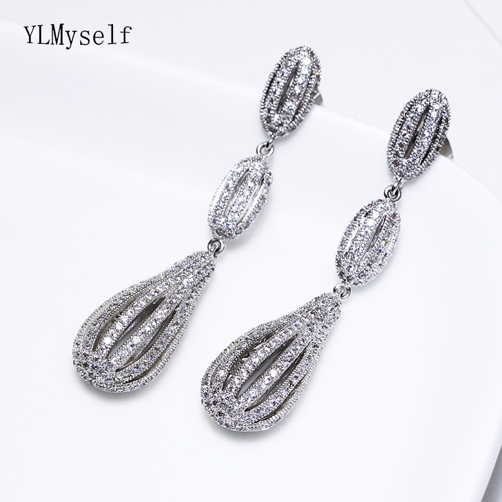 Unique design white jewelry long earring shiny cz crystal stones copper metal female large drop earrings