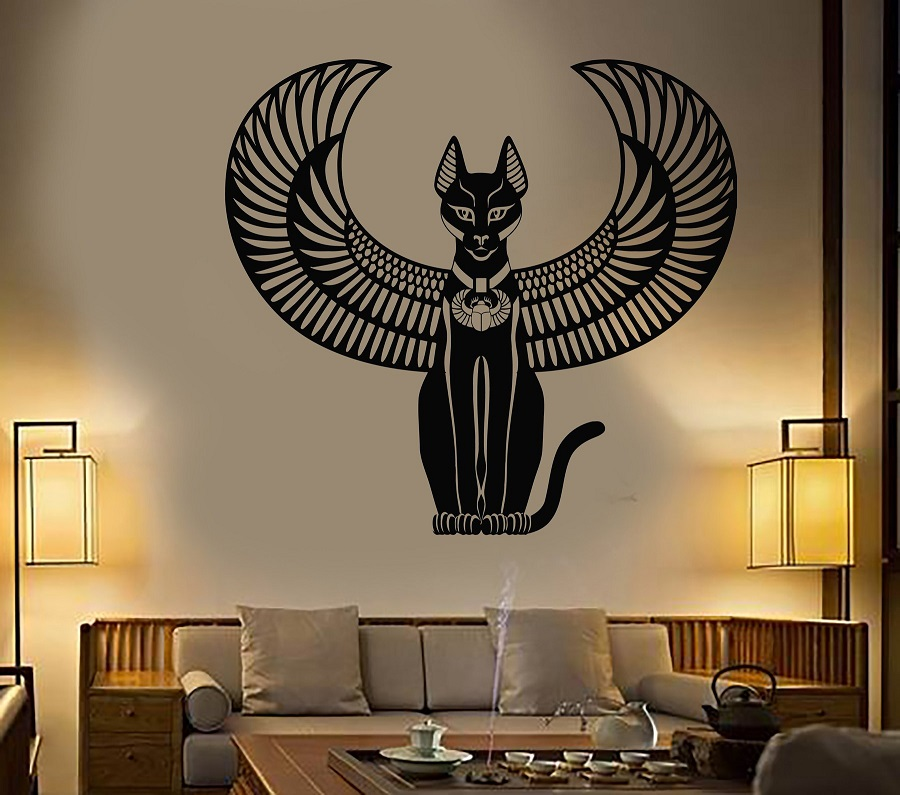 Vinyl wall applique Bastet ancient Egyptian cat goddess Egyptian art stickers home decor living room bedroom wall decals 2AJ5-in Wall Stickers from Home & Garden