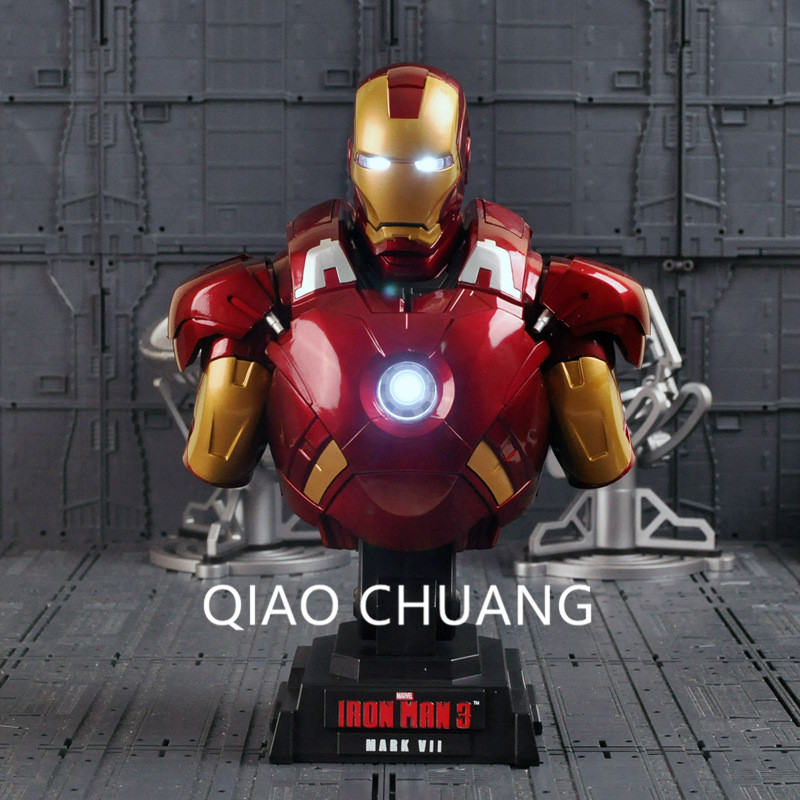 NEW 23CM The Avengers Iron Man 3 MARK VII 1/4 Scale Limited Edition Collectible Bust Figure Model Toy With Glow Chest Like G13 new mf8 eitan s star icosaix radiolarian puzzle magic cube black and primary limited edition very challenging welcome to buy