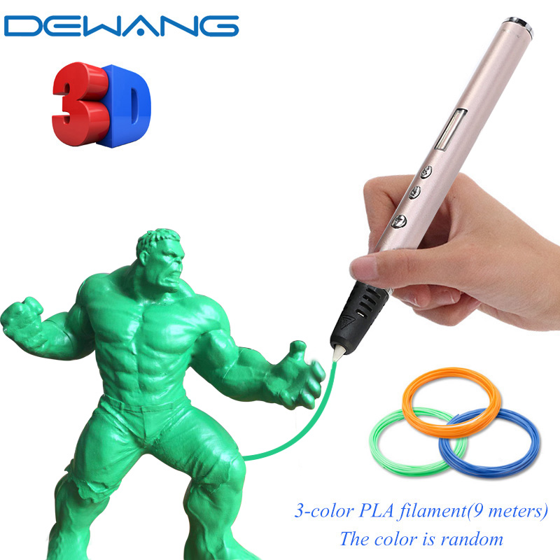 DEWANG 3d Pen Scribble Pen with ABS PLA Filament 3 D Printing Drawing Pen Children School