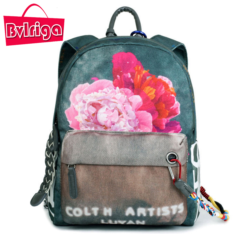ФОТО BVLRIGA Women's Backpack Female Backpacks For Adolescent Girls Small Printing flowers Backpack For Children School Bag Bagpack