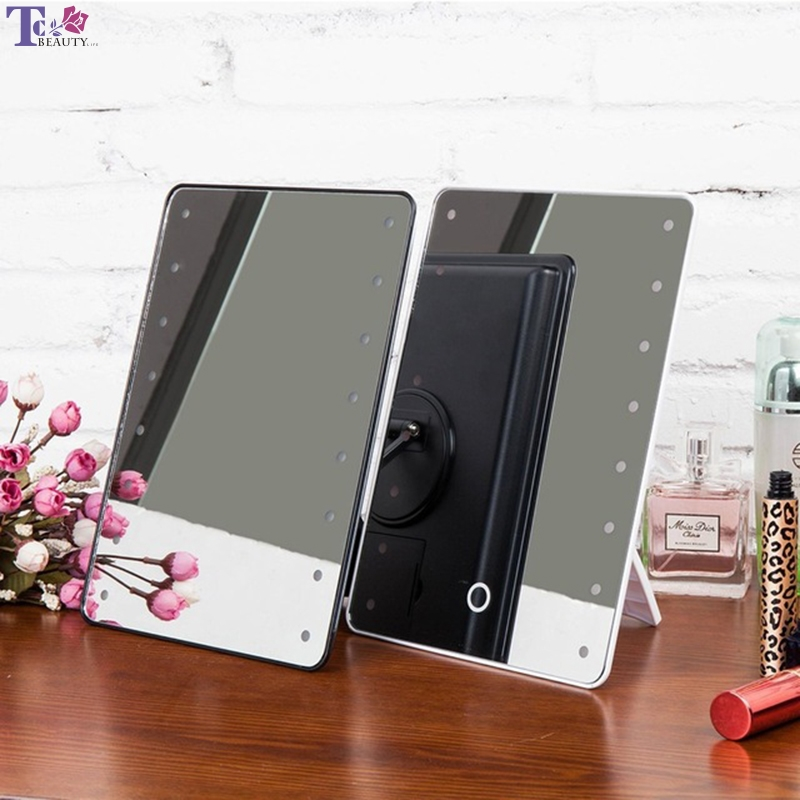 LED TOOTH MAKE-UP MIRROR TOUCH SCREEN MAKE UP Table cosmetics usb led makeup mirror maquiagem double sided wireless charge for phone led touch screen amplifier make up mirror cosmetics tool