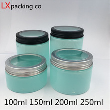 10 pcs 100 150 200 250 ml Light Blue Plastic Pack Empty bottle silver window Lid Spice Candy Container Bank Free Shipping