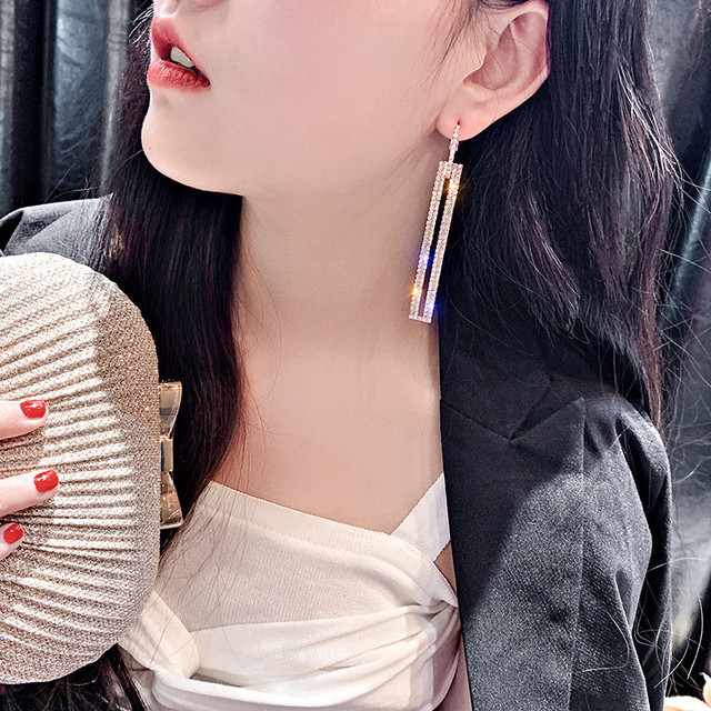 FYUAN Fashion Long Geometric Drop Earrings Luxury Gold Silver Color Rectangle Rhinestone Earring for Women Party Jewelry Gift 12