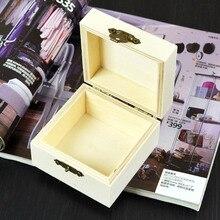 1Pcs Wooden Jewelry Case Fashion Mud DIY Square Shape Storage Box Decor