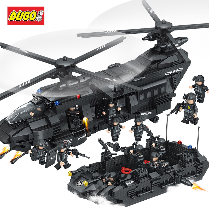 DUGO Toys Large Police Military Figures Building Blocks DIY Transport Helicopter Compatible Legoed SWAT City Gift Toys For Kids solar military transport plane baron p320 jigsaw puzzle building blocks environmental diy toy