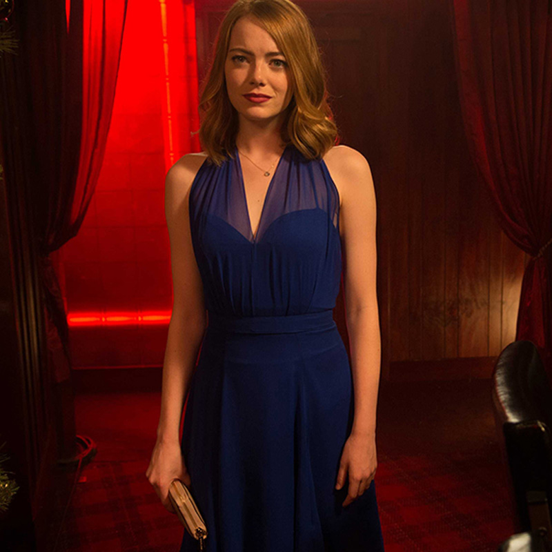 la la land mia blue dress cosplay costume emma stone sexy party evening dresses backless v - Partyland Halloween Costumes