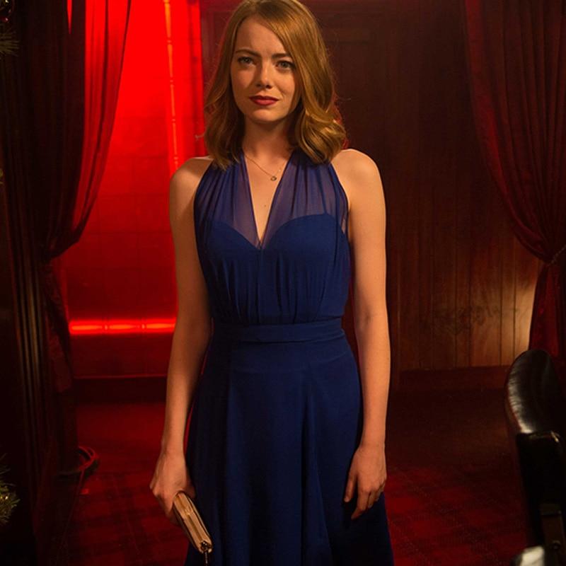 La La Land Mia Blue Dress Cosplay Costume Emma Stone Sexy Party Evening Dresses -2192
