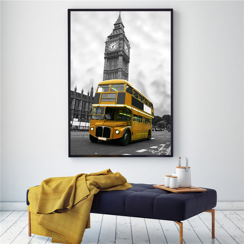 Us 359 10 Offlondon Telephone Booth Yellow Bus Poster Umbrella Canvas Painting Black White Wall Art Picture Living Room Decoration Home Decor In