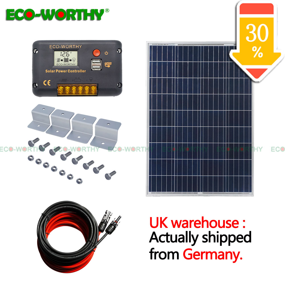 100W 18V Polycrystalline Solar power Panel with 20A CMG Temperature Controller 5m cables wires for 12V
